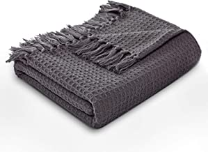 MOTINI Waffle Weave Blanket Throw Fringed Cotton Throw Gray Cozy Elegant Solid Knit Soft Decorative Blanket for Couch Bed Sofa, 50 x 60
