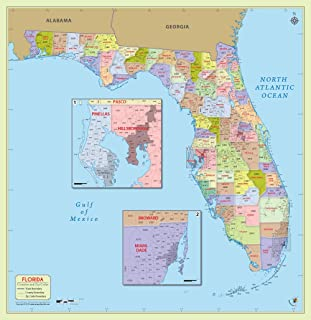 Florida County with Zip Code Map (48
