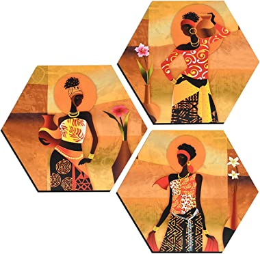 MAHAGAURI ART & SIGN Wall Mounted Designer Hexagon Printed Paintings for Living Room | Wall Hanging Gift of Lady in Desert Di