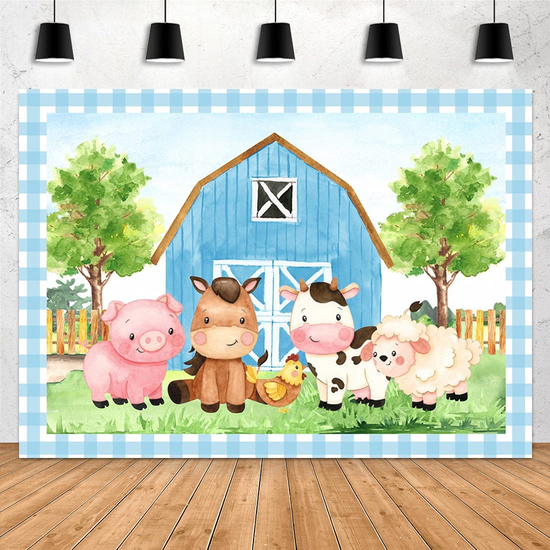 Aperturee 7x5ft Cartoon Farm Animals Photography Backdrop Blue Barn Barnyard Baby Shower Happy Birthday Photography Background Newborn Party Decoration Banner Photo Booth Cake Table Supplies