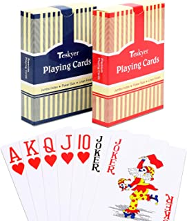 Teskyer Playing Cards, Poker Size, Large Print Jumbo Index, Linen Finish Surface,Blue and Red