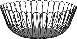 Fruit Dish Round Fruit Basket Metal Wire Vegetable Bowl Creative Stylish Candy Dish for Living Room, Kitchen, Pantry, Office (large-black)
