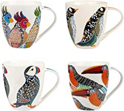 Churchill China Queens Paradise Birds Colourful Puffin Parakeets Penguin Toucans Mug Cup Set of 4 500ml 16.9 fl oz