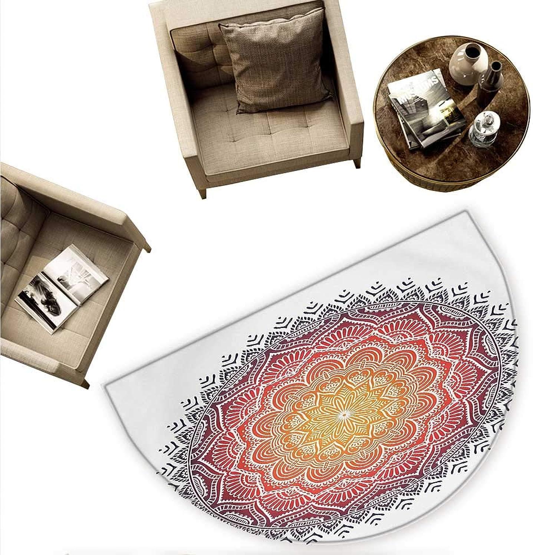 Mandala Semicircular Cushion Geometric National Kaleidoscope Motif with Gradient Tone Effects Petal Heart Forms Entry Door Mat H 78.7  xD 118.1  Multicolor