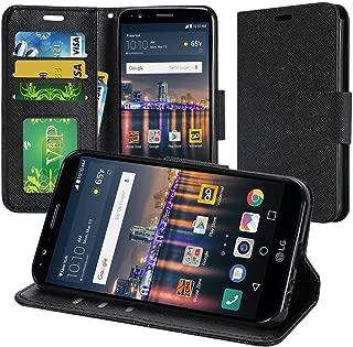 LG G Stylo (Boost LS770, T-Mobile LG H631 & MetroPCS LG MS631) / LG G Stylus LS770 (Sptint), PU Leather Flip Wallet Credit Card Cover Case, Stylus Pen, Screen Protector & Droid Wiper (Black/Black)