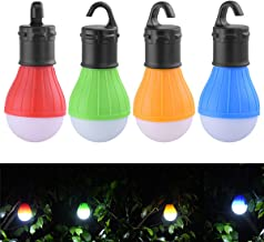 4 Packs Tent Bulb Light Outdoor Camping Lamp Tent Lantern Bulbs Battery Powered & Water Resistant Lighting for Hurricane Emergency Backpacking Hiking Fishing (Multi-Color)