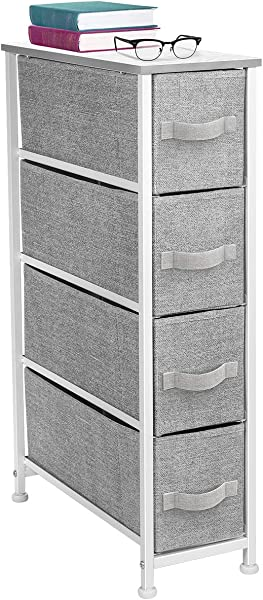 Sorbus Narrow Dresser Tower With 4 Drawers Vertical Storage For Bedroom Bathroom Laundry Closets And More Steel Frame Wood Top Easy Pull Fabric Bins White Gray
