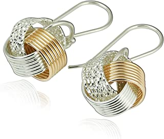 Stera Jewelry Unique Design Two Tone 925 Sterling Silver & 14k Gold Filled Love Knot Earrings