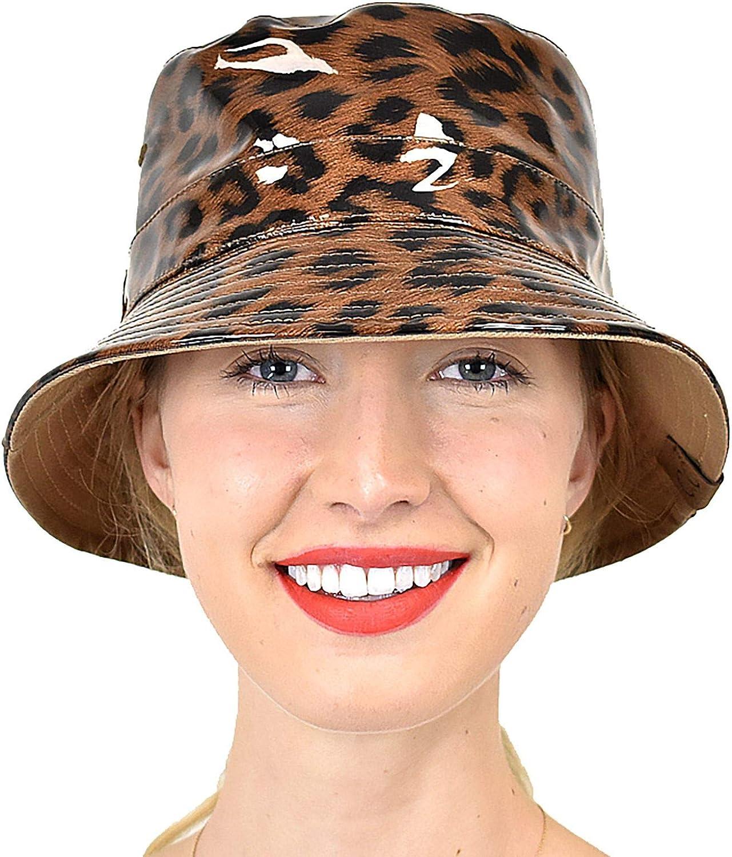 C.C Women's Leopard Print Outdoor Foldable Water Resistant Rain Bucket Hat