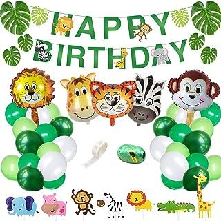 Yancan Jungle Safari Theme Birthday Party Supplies, Favors for Kids Boys Birthday Baby Shower Decor, Party Birthday Animal Balloons Decorations