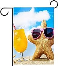 "Tuin Vlag Verticale Dubbelzijdige 28x40"" Yard Outdoor Decoration.starfish met zonnebril"