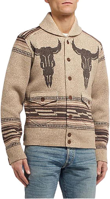 Men's Cardigan Sweater Long Sleeve Loose Oversized Jacket Knitted Coat for Men