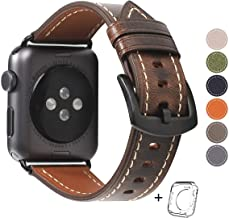 Compatible iWatch Band 42mm 44mm Mens Women, Top Grain Leather Band Replacement Strap iWatch Series 5/4/ 3/2/ 1,Sport, Edition. New Retro discoloured Leather