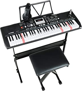 $129 » LAGRIMA LAG-750 61 Key Electric Keyboard Piano with Stand, Light Up Keys for Beginner, Lighted Portable Keyboard w/Bag, Mi...