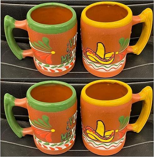 popular 4 Mexican outlet sale Coffee online sale Mugs Jarritos Mexicanos Viva La Mexico Design Tazas de Barro Micnocana Ponchero Hot Chocolate Champurrado Tepache Pulque Traditional Clay Party Dish online