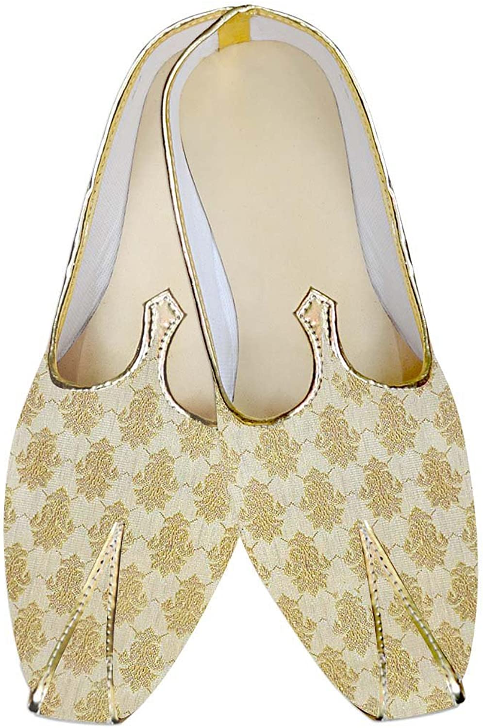 INMONARCH Mens Light golden Wedding shoes Handcrafted MJ014045