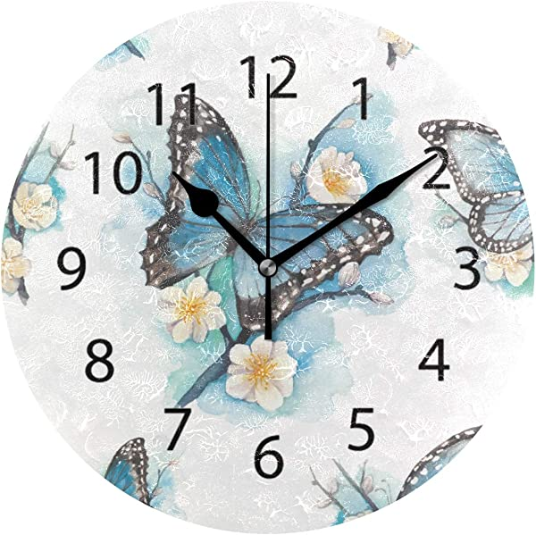 LONK Wall Clock Round 10 Inch Diameter Silent Flower Butterfly Art Decorative For Home Office Kitchen Bedroom