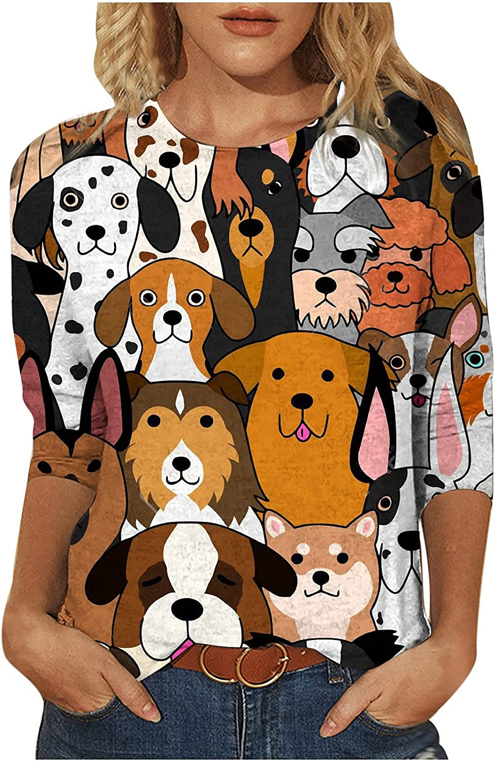 Women Tops Cute Animals Graphic Tees 3/4 Sleeve Blouse Casual Comfy Pullover Fall Trendy Jumper Tunic for Jeans