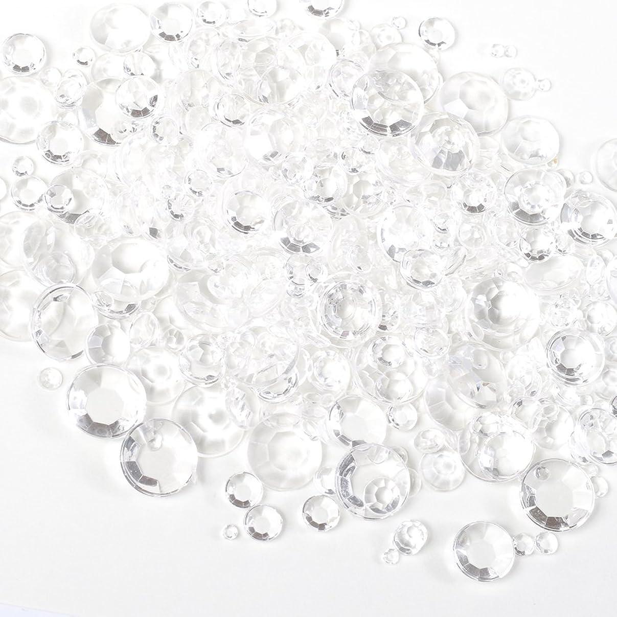投げる控えるコースサイズ ミックス (全透明) スケルトン ラインストーン 約5g クリア アンホイル 【ラインストーン77】