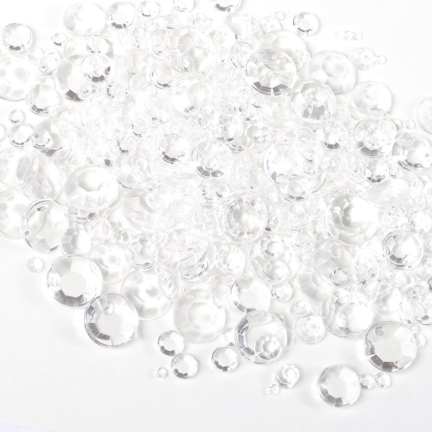 誠実ウェイド仕方サイズ ミックス (全透明) スケルトン ラインストーン 約5g クリア アンホイル 【ラインストーン77】