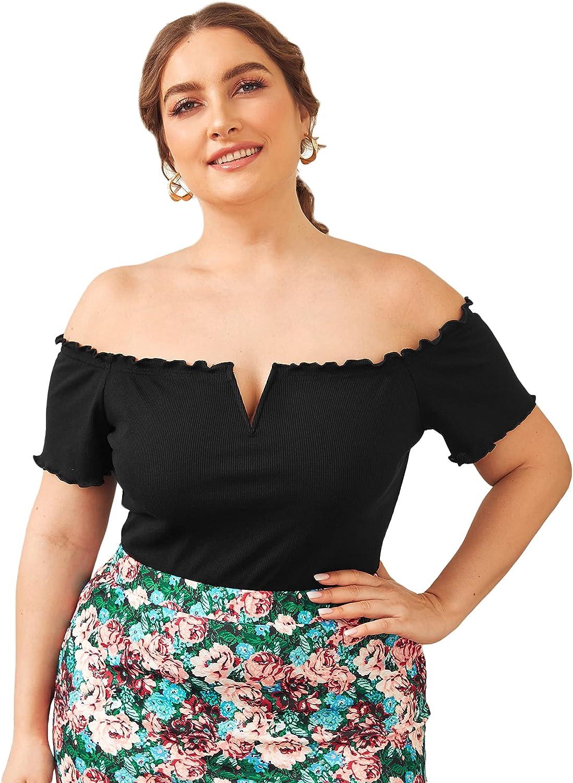 SOLY HUX Women's Plus Size Off Shoulder Heart Print Short Sleeve T Shirt Top