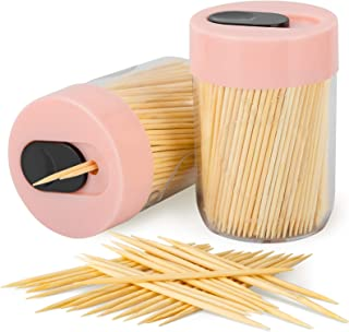 Urbanstrive Sturdy Safe Toothpick Holder with 800 Natural Wood Toothpicks for Teeth Cleaning, Unique Home Design Decoratio...