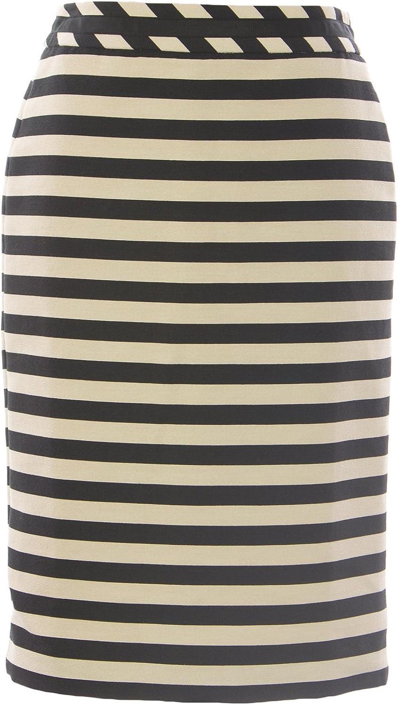 BODEN Women's Striped Wow Pencil Skirt Black White