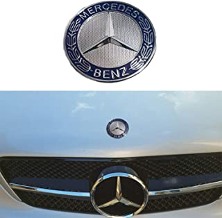 57MM Chrome Mercedes Benz Logo Flat Hood Star Emblem Badge for Mercedes Benz C E SL Class Decoration.(Blue Laurel Wreath)
