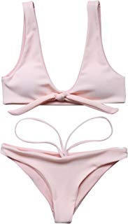 Women's Halter U Neck Bandage Bow Tie Bikini Sets Brazilian Two Pieces Swimwear Swimsuit