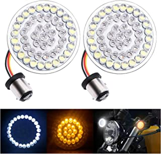 """Fuguang [2PC-2""""] Motorcycle Front LED Turn Signal Lights 1157 Front Running/Turning Lights White with Amber for Harley Davidson Motorcycles, No Smoke Lens (White & Amber, 1157 Front Turn Signal Light)"""