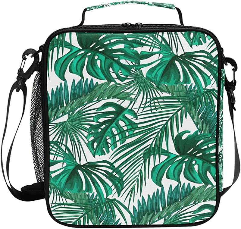 Tropical Palm Leaves Lunch Box Tote Reusable Insulated School Cooler Bag For Women Kids