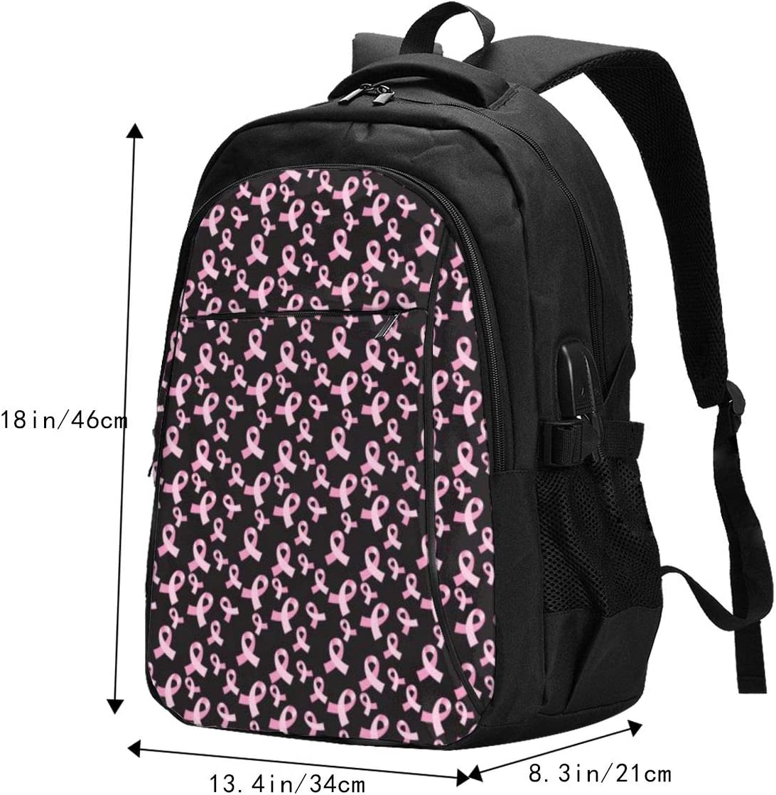 Student School Outdoor Backpack,Travel Bag Laptop Bookbags Business Daypack. Ribbon Breast Multifunctional Personalized Customized USB Backpack