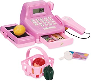 Play Circle by Battat – Cha-Ching Cash Register Set with Sounds – Calculator, Scanner, Paper Bills, and Plastic Coins – Learn & Play Pretend Shopping Toys for Kids Ages 3+ (26 Pieces)