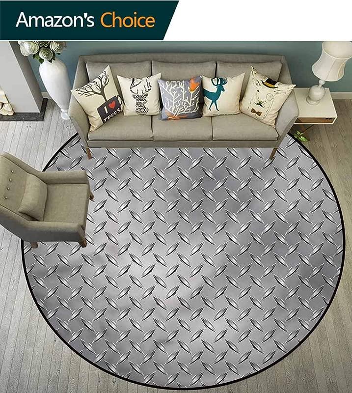 RUGSMAT Grey Anti Skid Area Rug Diamond Plate Effects Non Slip No Shedding Kitchen Soft Floor Mat Round 24