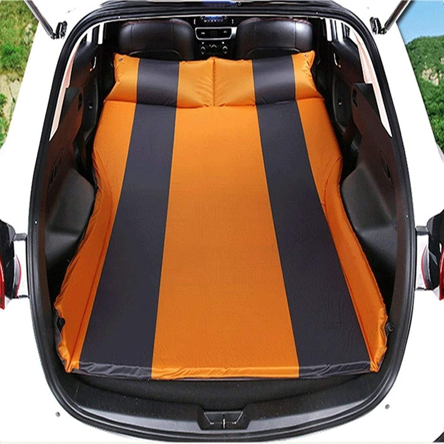MUTANG Car Travel Inflatable Air Mattress Back Seat Portable Camping Bed Cushion with Back Support Fits Universal Car SUV with Travel Neck Pillow