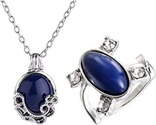 2 Packs Unisex Vampire Diaries Elena Sapphire Crystal Daylight Ring and Katherine Sapphire Crystal Pendant Daywalking Neck...