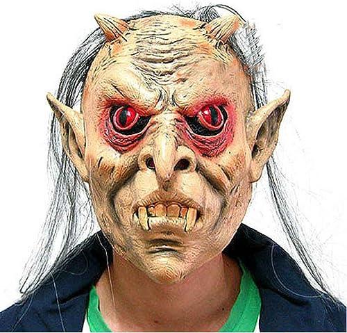 Miaomiaogo Latex Full Face Rote Augen Langes Haar Perücke Maske Halloween Toothy Zombie Cosplay Horror Masken