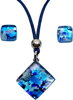 Murano Glass Set of Reflection Pendant and Earrings