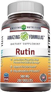 Amazing Formulas Rutin - 500mg, 200 Tablets (Non-GMO,Gluten Free) - Antioxidant Properties - Helps Absorption of Vitamin C...