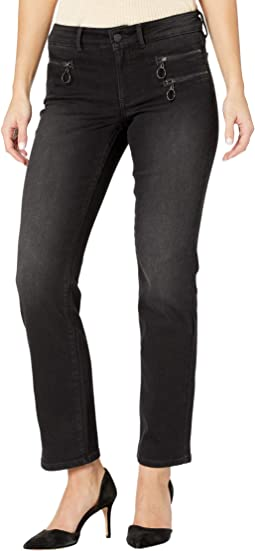 Petite Marilyn Straight Jeans with Hip Zippers in Glory