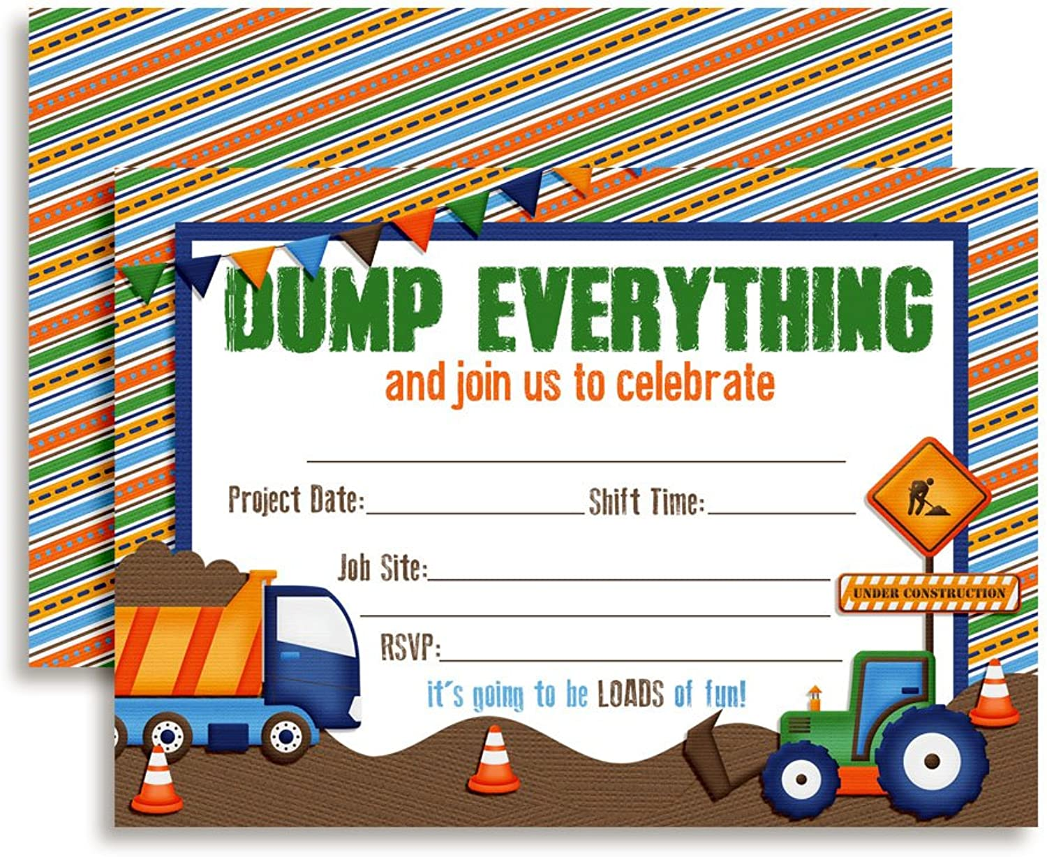 Dump Everything Construction Site Birthday Party Invitations Ten 5x7 Fill In Cards with 10 White Envelopes by AmandaCreation