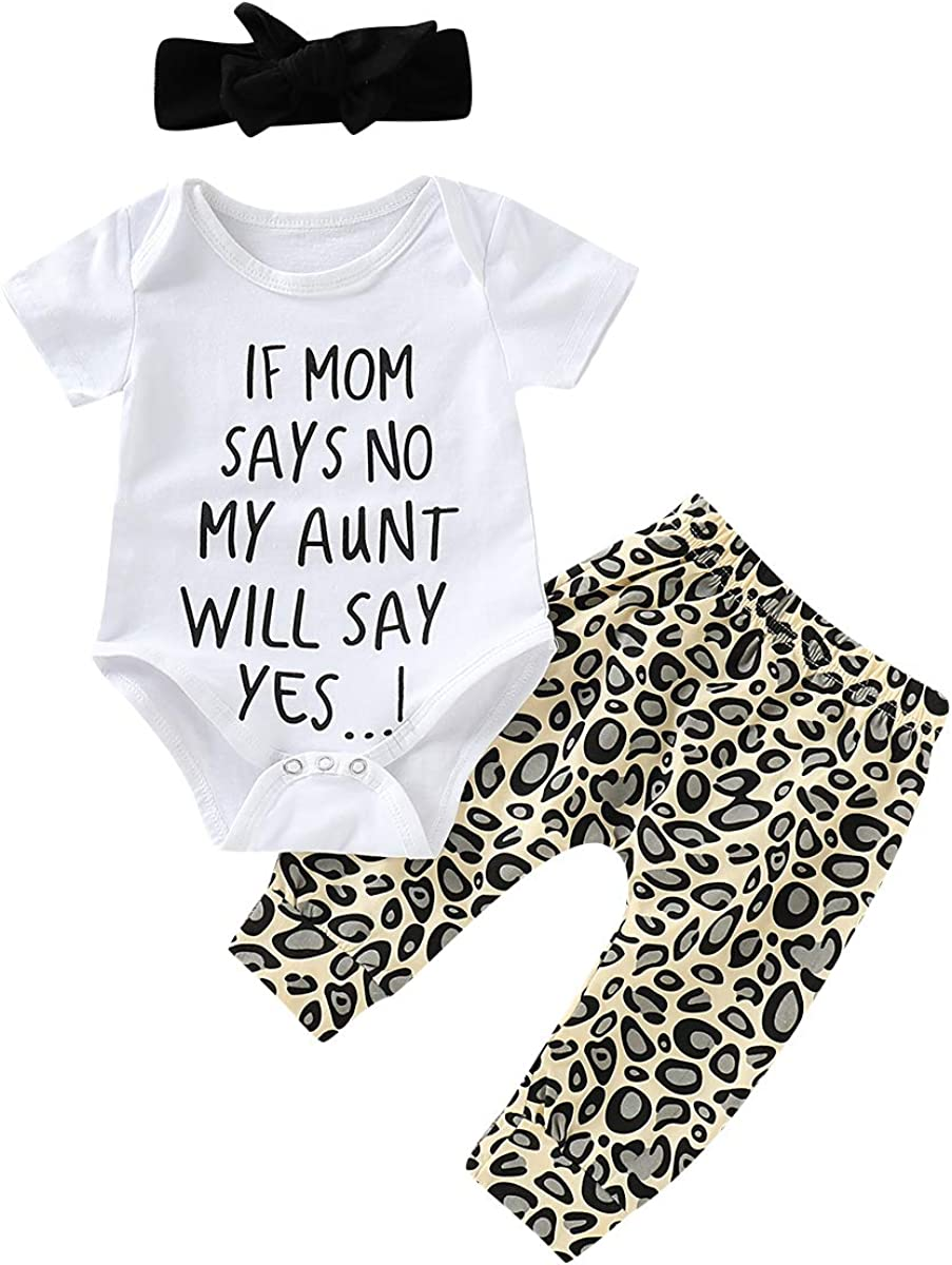 Toddler Baby Girl Leopard Outfit Clothes Letter White Tops Shirts + Long Legging Pant with Headband Fall Clothing Set