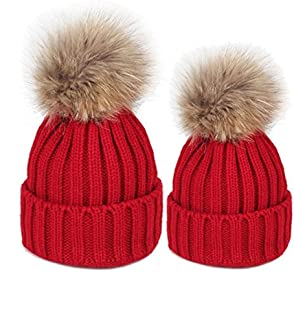 Anxinke Little Boys Girls Winter Hair Ball Comfy Knitted Beanie Hats with Scarf