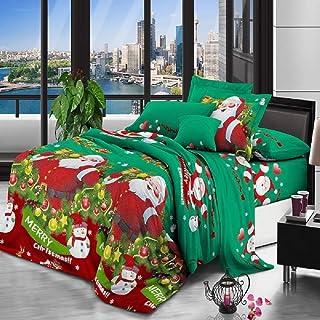 dDanke Duvet Cover Sets 4 Piece Christmas Theme Bedding Set for 1.8m Bed, 1 Sheet 1 Duvet Cover 2 Pillow Case (Green)