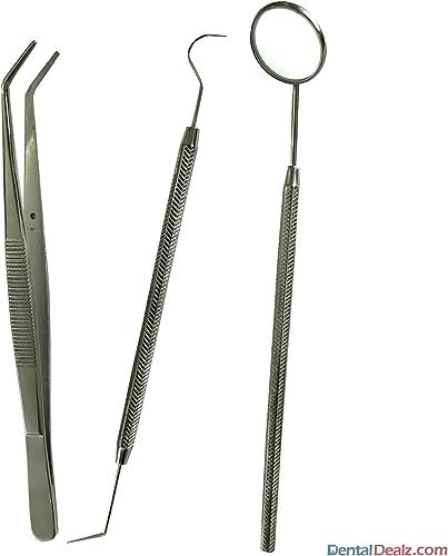 SS WHITE - Dental Pmt Set (Mirror With Handle, Tweezer, Probe Double Ended)-Diagnostic Kit