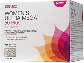 GNC Womens Ultra Mega 50 Plus Vitapak Program, 30 Packs, for Overall Womens Health for Those Over 50