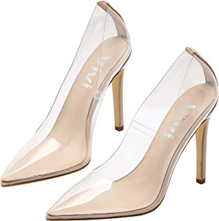 Vivi Fashion High Heel Pointed Toe Clear Pumps Heels Slip on Dress Shoes for Women