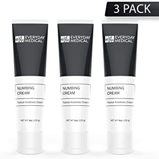 Everyday Medical Numbing Cream - 5% Lidocaine Topical Anesthetic Gel - Numbing For Tattoos, Piercing, Waxing, Microneedling, Microblading, Injections, Hemorrhoids and Anorectal Discomfort Relief - 3PK