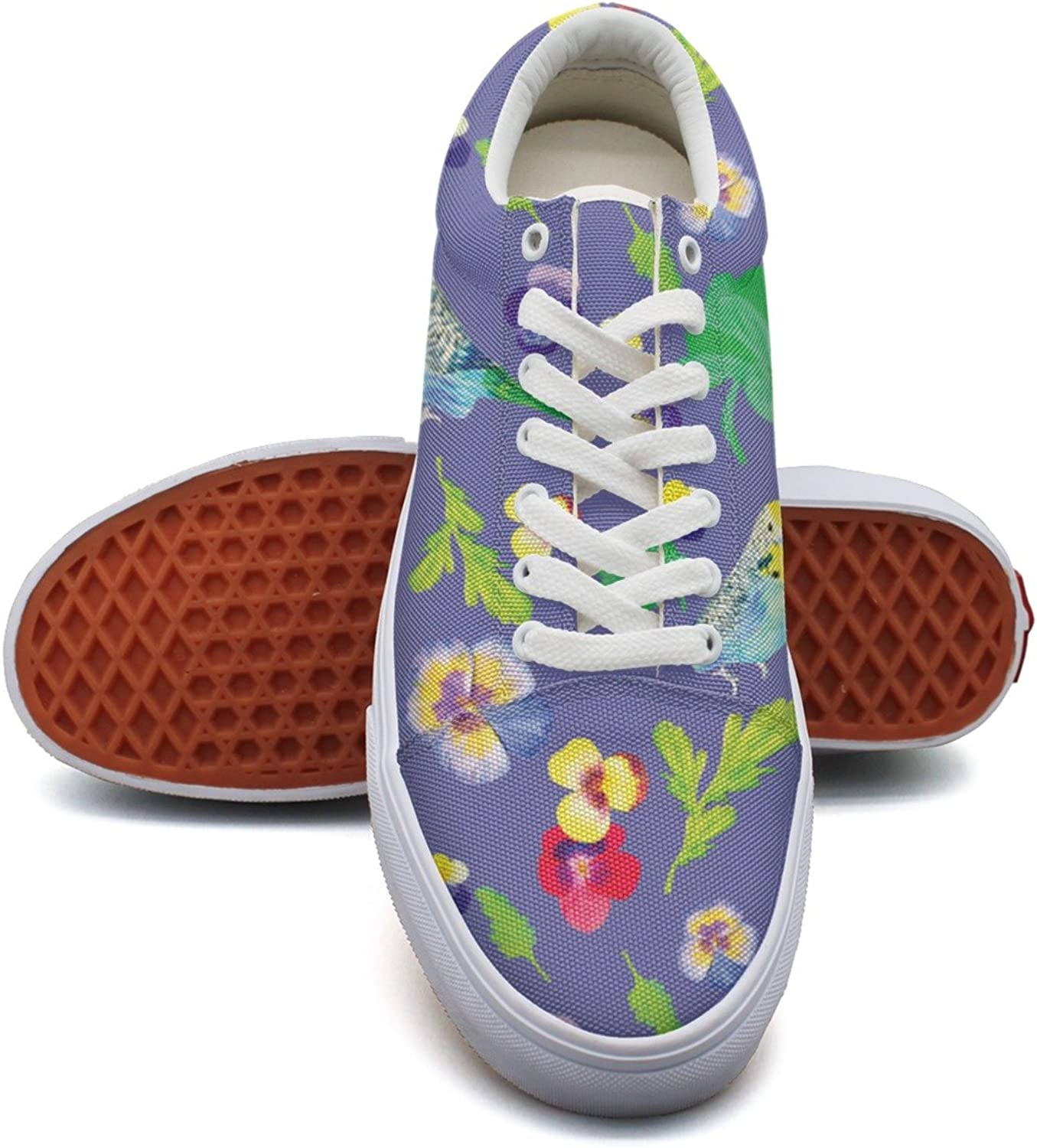 Hjkggd fgfds Casual Parred Birds and Pansy Flowers Women Girls Canvas shoes
