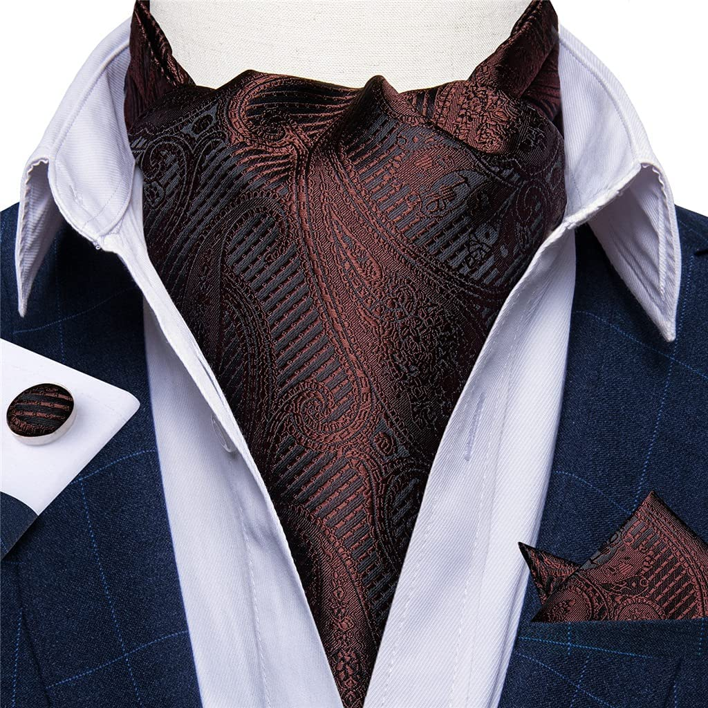DIAOD Mens Wedding Party Formal Tie Silk Bussines Gentleman Vintage British Style Cravat Tie Set Casual Red Scarf (Color : A, Size : One Size)